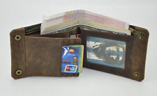 Vintage Genuine Leather Soft Bifold Wallet Money Card Holder Purse Brown For Men