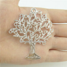 15408*4PCS Large Hollow Plant Tree Of Life Pendant Charm Alloy Bright Silver