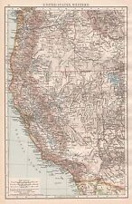 1896  LARGE ANTIQUE  MAP : UNITED STATES WESTERN