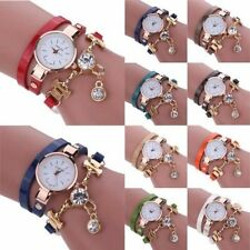 New Design Fashion Women's Ladies Faux Leather Rhinestone Analog Quartz Dress Wr
