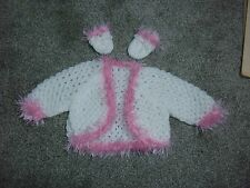 """Light Pink & white cardigan for Baby Annabell or similiar size doll 17""""-19"""""""