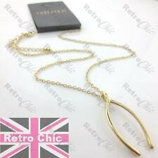 "QUIRKY retro WISHBONE pendant NECKLACE 18""chain WISH BONE vintage gold fashion"