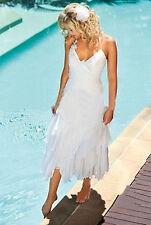 White Ivory Short Beach Wedding Dress Bridal Gown Custom Size 4 6 8 10 12 14 16+