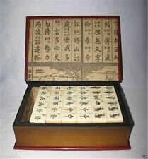 Beautiful Mah Jong Set in Leather book Box*144 Tiles Tiles / Bamboo