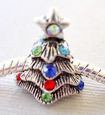 ONE Charm Bead CHRISTMAS TREE Rhinestones for European Charm Bracelet C22
