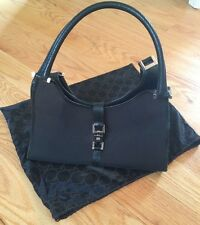 Authentic Gucci Hobo Shoulder Black Leather & Canvas Purse Bag Tote. Beautiful.