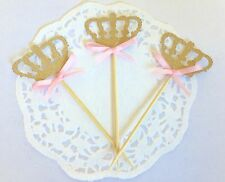 20 Gold Glitter Crown Cupcake Toppers Pink Bow, Princess Party, Birthday