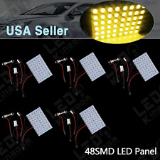 5 X Festoon T10 BA9S Amber Yellow LED 48-SMD Panel Interior Dome Map Light Bulbs