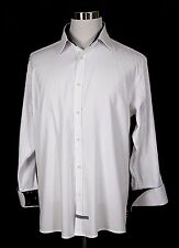 ENGLISH LAUNDRY WHITE 100%COTTON BLACK SILK LONG SLV DRESS SHIRT Sz 17 1/2;32/33