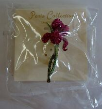 Paris Collection Large Pink & Green Rhinestones Flower Pin Brooch New 2 1/2""