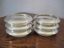 SET OF 6 VINTAGE AMSTON STERLING SILVER & CRYSTAL WINE OR DRINK COASTERS