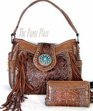 Montana West Trinity Ranch Concealed Carry Tooled Leather Purse / Wallet Brown