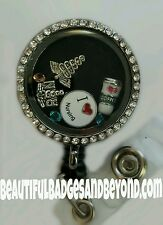 Custom Floating Locket Retractable Badge Holder! You choose the charms!