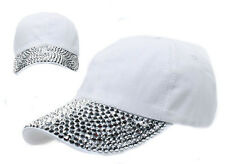 Women's Men's Rhinestone Studded Baseball Cap DIY Bling Visor Denim Tennis Hats