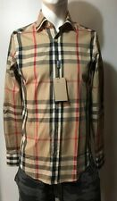 Burberry Brit Dark Camel Check Casual Men's Shirt Size M