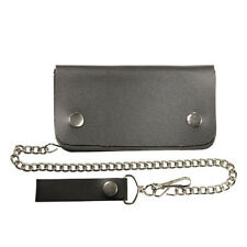 "Genuine Black Leather Biker Trucker Billfold with Stainless Chain 8"" Wallet"