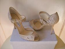 $750 Jimmy Choo Lace Mary Jane Shoes Pumps Ankle Strap Patent Nude 40 US 9.5 10
