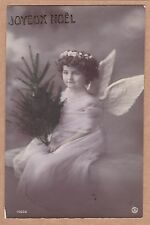 Antique French Christmas PC - Pretty Little Girl Dressed As Angel, Holding Tree
