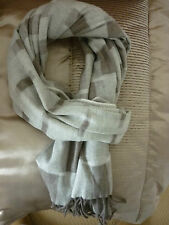 LINEA CASHMINK (CASHMERE SOFT) BLURRED BLOCKS STONE & BROWN WIDE SCARF BNWT.