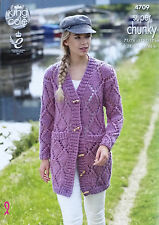 KNITTING PATTERN Ladies Long Sleeve Lace Coat with Pockets Super Chunky 4709