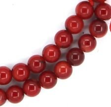 "16"" Red Bamboo Coral Round GRADE A ~63 Beads 7mm K1610"