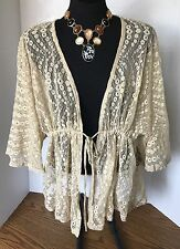 Ladies size L Hippie Hobo Peasant Lace Forever 21 XXI Beige Tie Front Shirt Top