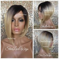 Short Straight Asymmetrical Bob Full Wig Blonde Dark Roots Light Yaki Heat Safe