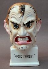 1960's GOOD MORNING ceramic figure BUST weird psycho looking figurine JAPAN