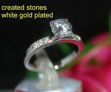 1ct CZ with stone shoulder WGP ring size L 6