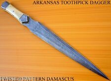 CUSTOM DAMASCUS STEEL HUNTING BOWIE KNIFE / SWORD / ARKANSAS TOOTHPICK DAGGER /
