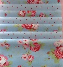 8 Cath Kidston Fabric Material 25X25cms Blue Rose & Spot Patchwork Quilting Sew