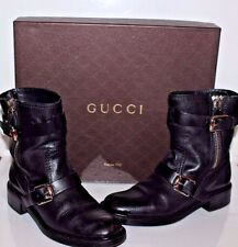 GUCCI  Women's Boots Black Leather  Motorcycle  Buckle & Zipper Size 36.5 EUR