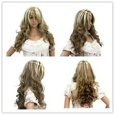 New 80cm long Mixed beige/Brown women Synthetic weave curly fashion hair wig X5
