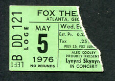Original 1976 Lynyrd Skynyrd concert ticket stub Atlanta One More From The Road