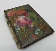 PAINTED WOODEN NEEDLE CASE FORGET ME NOTS ROSES MAY INTEREST SPA WARE COLLECTORS