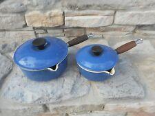 Vintage Pair / 2 Blue LeCREUSET SAUCE PAN pots cast iron France # 18 & # 14