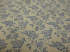 Ivory & Blue Small Gothic Flowers, Floral Printed 100% Cotton Poplin Fabric