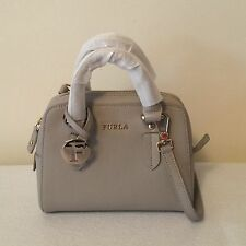 SALE!FURLA Grey Elena Mini Leather Satchel CROSSBODYBAG LIGHT GOLD TONE HARDWARE