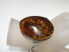 VINTAGE GIANT BALTIC AMBER STERLING SILVER CHUNK HINGED BANGLE BRACELET MARKED