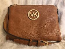 NWT MICHAEL MICHAEL KORS LEATHER FULTON LARGE CROSSBODY BAG IN LUGGAGE
