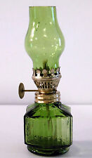 Vintage Miniature Emerald Green Flash Glass Oil Lamp w/Shade/Burner Complete