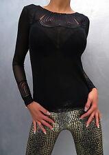 Unique Transparent Stretch Neu 2017 Luxus Black Shirt Hemd M76 Blouse Bluse S