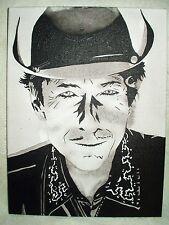 Canvas Painting Bob Dylan Cowboy Portrait B&W Art 16x12 inch Acrylic