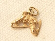 Estate Vintage 14K Yellow Gold Pair of Ice Skates Charm or Pendant signed AC