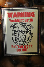 Wall Art Metal Sign Warning Bulldog Bull dog sign