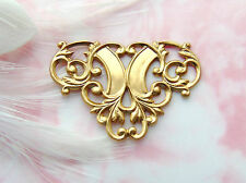 BRASS (5 Pieces) Flourish Scroll Connector Stamping ~ Jewelry Findings (D-824)