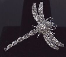 $5,500 18K White Gold Round Diamond Blue Sapphire Dragonfly Pendant Pin Brooch