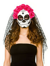 Womens Mexican Day Of The Dead Senorita Fancy Dress Mask & Veil Skull Candy New