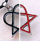 Choices of Red or Black Heartagram Heart Pentagram Heart Star HIM Pewter Pendant