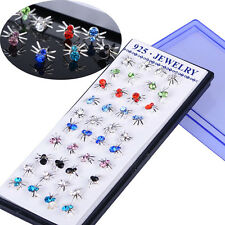 40PCS Whoesale Lot Silver Plated Multicolor Crystal Spider Ear Stud Earring New